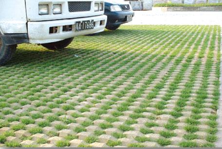井字草坪砖铺设效果